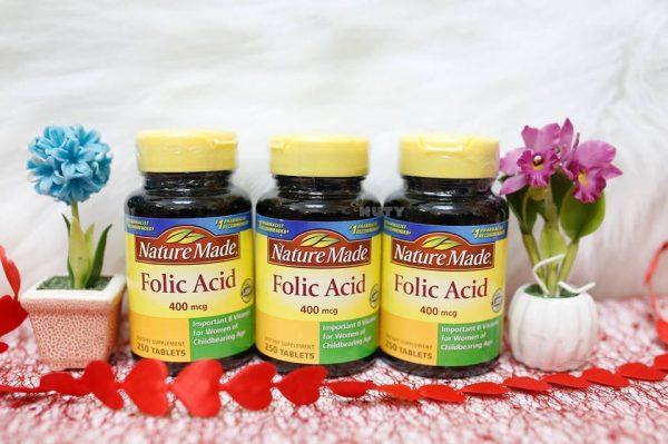 Natural Made của Mỹ đã cho ra đời viên uống bổ sung Axit Folic 400mcg.